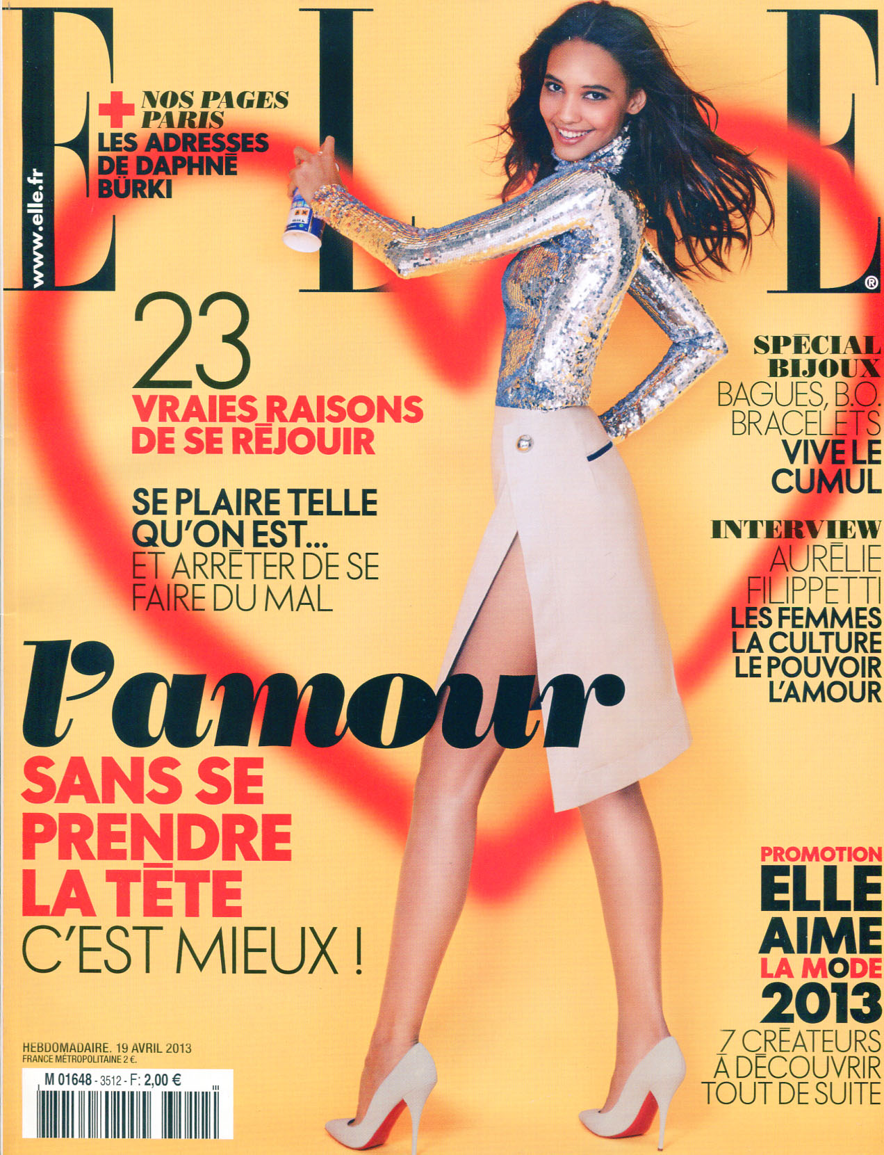French model with glamorous looks Cora Emmanuel on the cover of Elle magazine